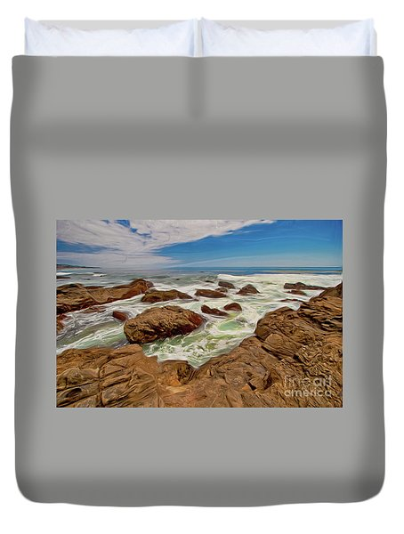 California Coast Waves On Rocks Ap Duvet Cover by Dan Carmichael