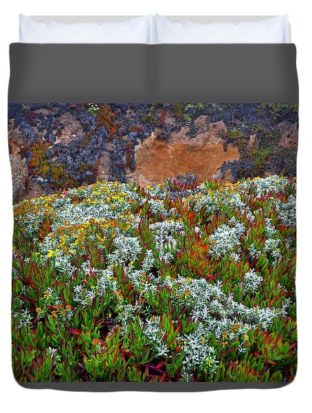 California Coast Wildflowers Duvet Cover by George Bostian
