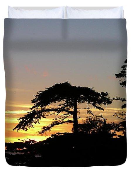 California Coastal Sunset Duvet Cover