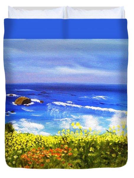 California Coastline Big Sur Ca Duvet Cover by  Debbie