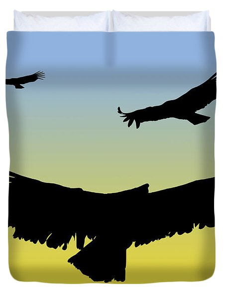 California Condors In Flight Silhouette At Sunrise Duvet Cover