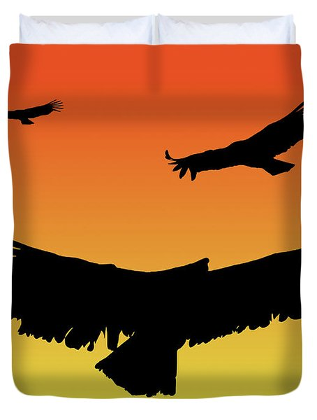 California Condors In Flight Silhouette At Sunset Duvet Cover