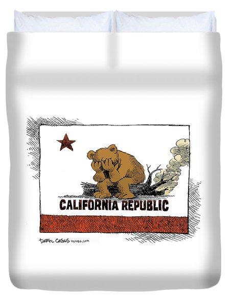 California Fire Bear Grieves Duvet Cover