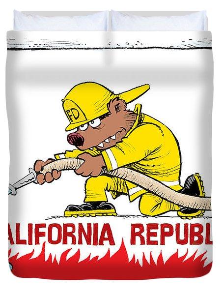 California Firefighter Flag Duvet Cover