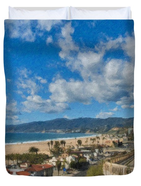 California Incline Palisades Park Ca Duvet Cover by David Zanzinger