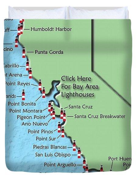 California Lighthouse Map Duvet Cover by Christine Till