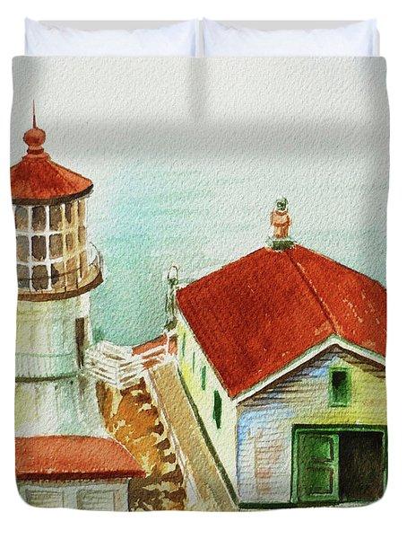 California Lighthouse Point Reyes  Duvet Cover