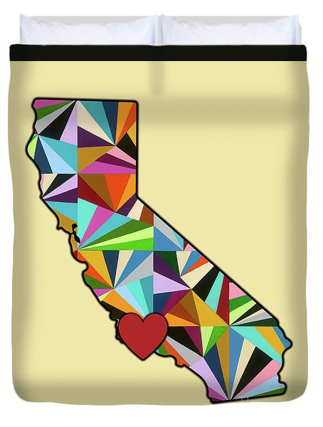 California Love Geometric Map Duvet Cover by Carla Bank