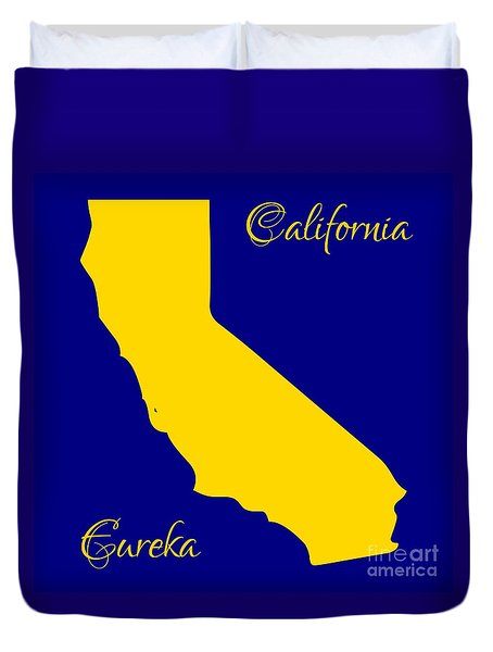 California Map With State Colors And Motto Duvet Cover by Rose Santuci-Sofranko