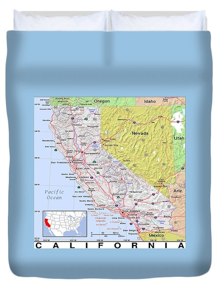 California Modern Map Duvet Cover