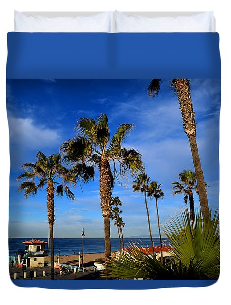 California Palm Trees And Blue Sky Duvet Cover