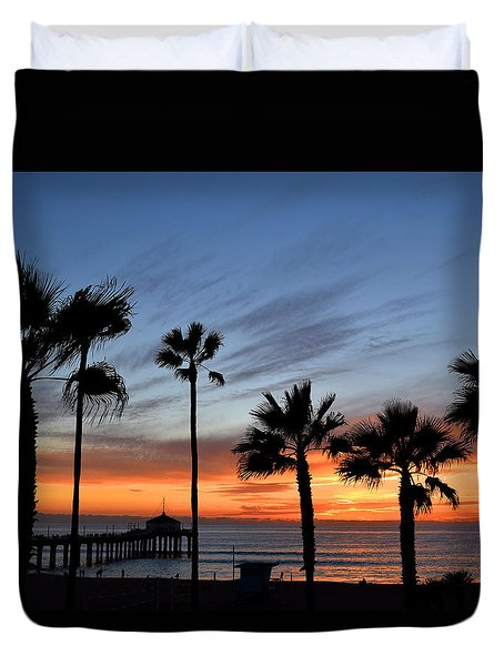 Manhattan Beach Sunset Duvet Cover