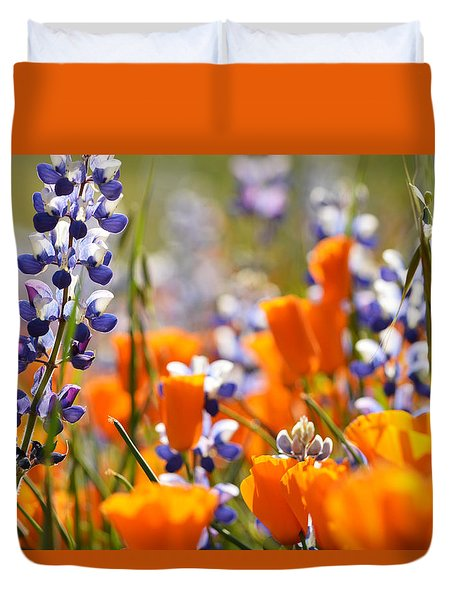 California Poppies And Lupine Duvet Cover by Kyle Hanson
