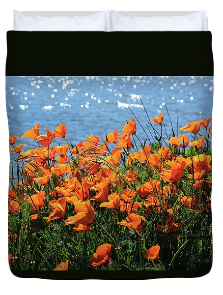 California Poppies By Richardson Bay Duvet Cover