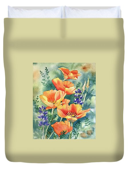 California Poppies In Bloom Duvet Cover