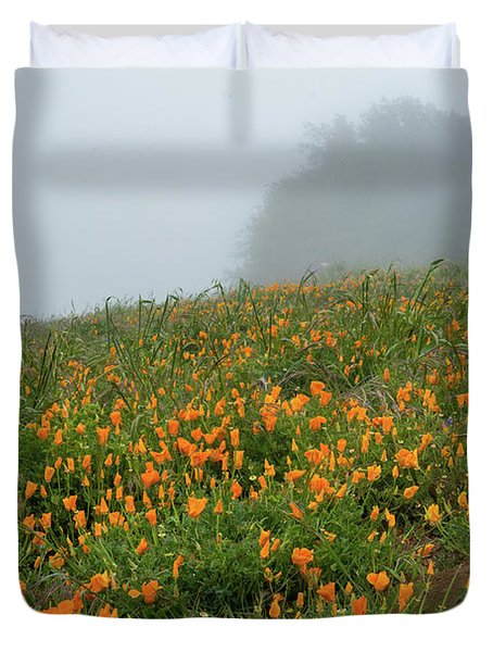 California Poppies On Volcan Mountain Duvet Cover