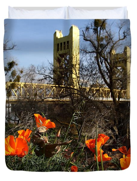 California Poppies With The Slightly Photographically Blurred Sacramento Tower Bridge In The Back Duvet Cover