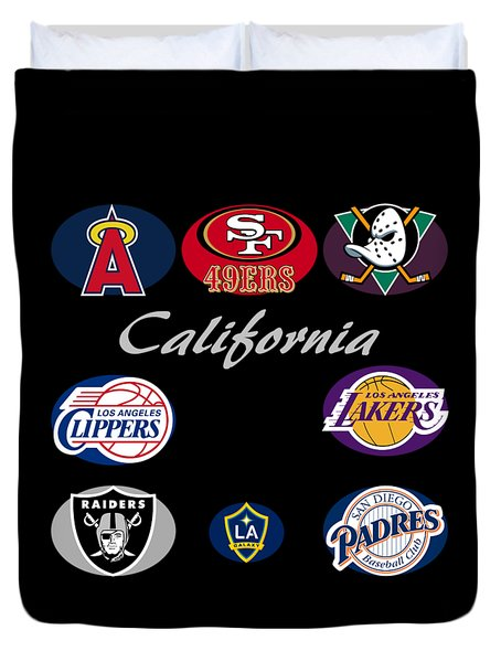 California Professional Sport Teams Collage  Duvet Cover