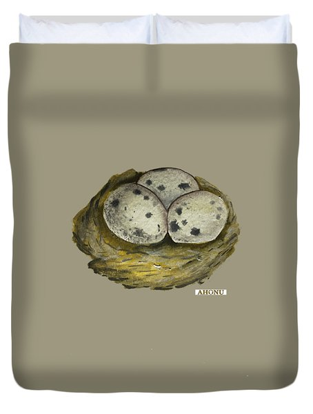 California Quail Eggs In Nest Duvet Cover