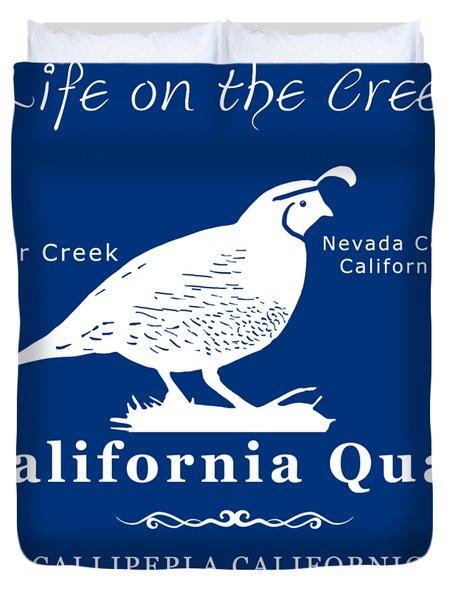 California Quail - White Graphics Duvet Cover