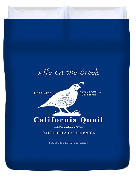California Quail - White Graphics Duvet Cover
