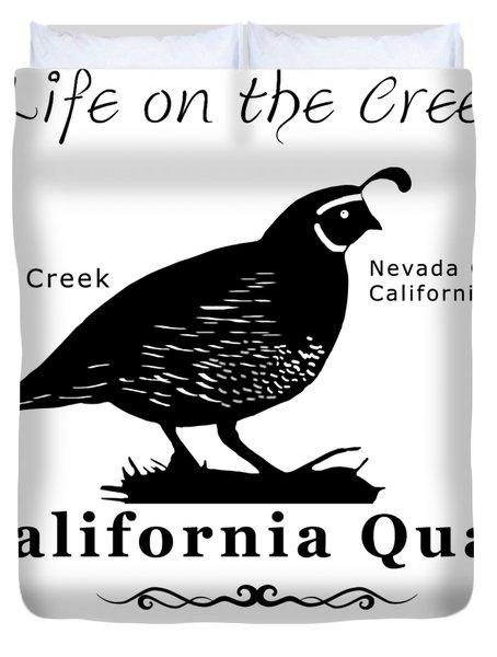 California Quail - White Duvet Cover