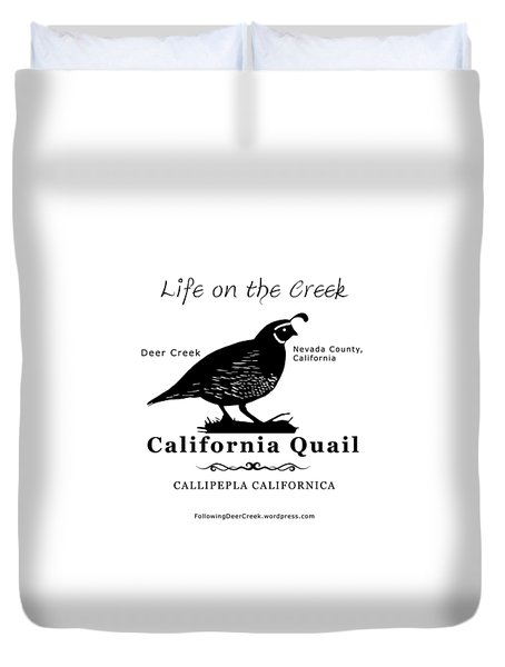 California Quail - White Duvet Cover