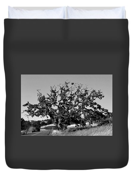 California Roadside Tree - Black And White Duvet Cover