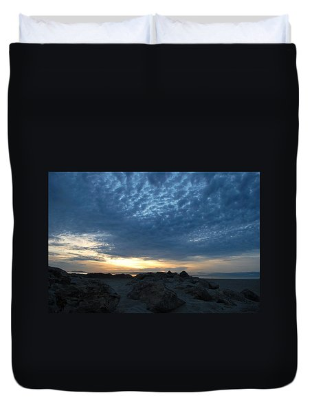 California Rocky Beach Sunset  Duvet Cover