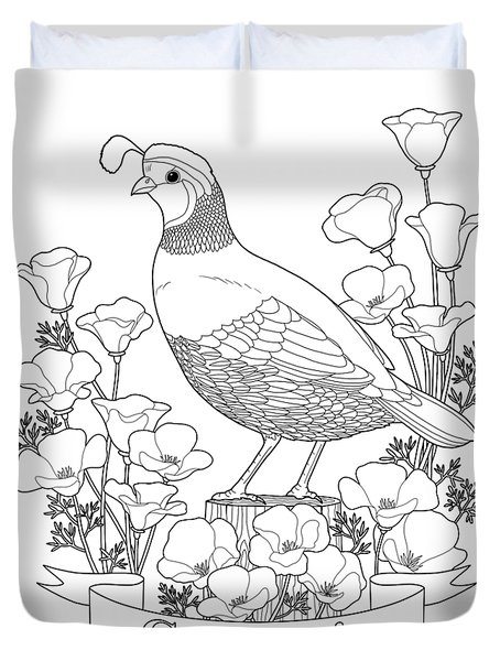 California State Bird And Flower Coloring Page Duvet Cover