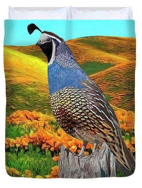California State Bird And Flower Duvet Cover