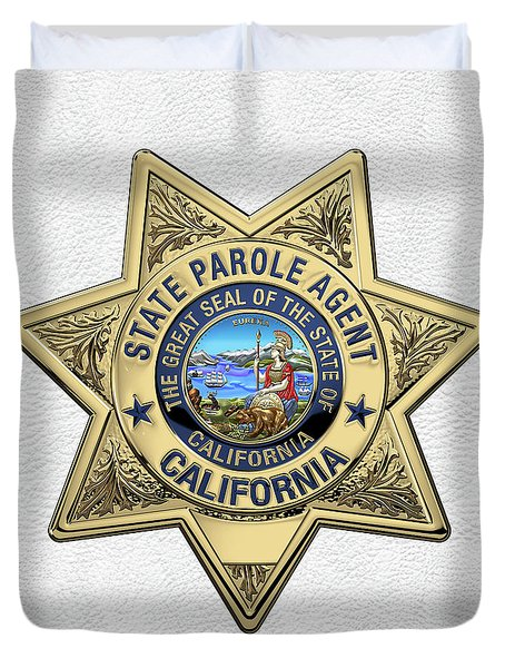 California State Parole Agent Badge Over White Leather Duvet Cover by Serge Averbukh