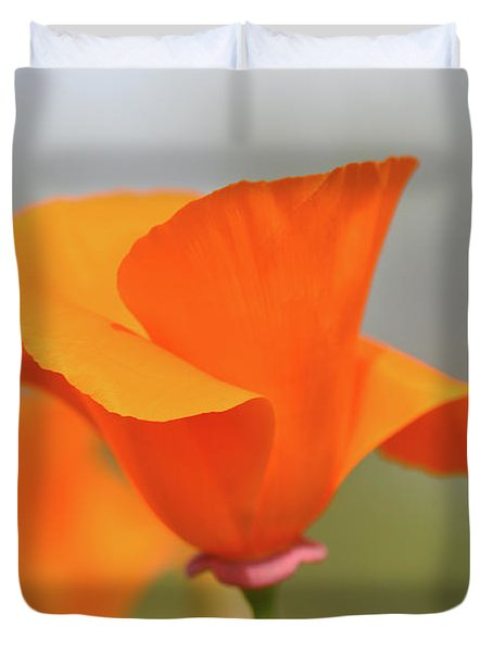 California State Poppy Macro Duvet Cover