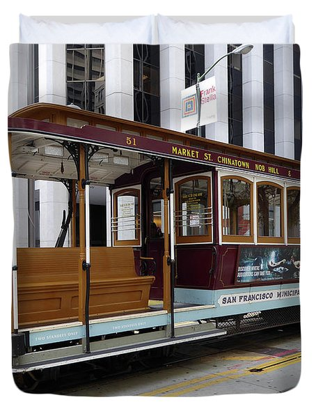 Duvet Cover featuring the photograph California Street Cable Car by Steven Spak
