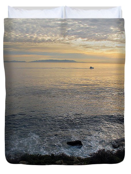 Duvet Cover featuring the photograph California Sunset by Joan  Minchak
