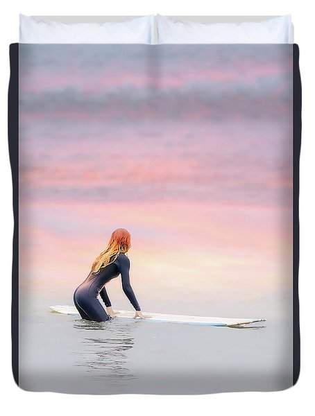 California Surfer Girl II Duvet Cover