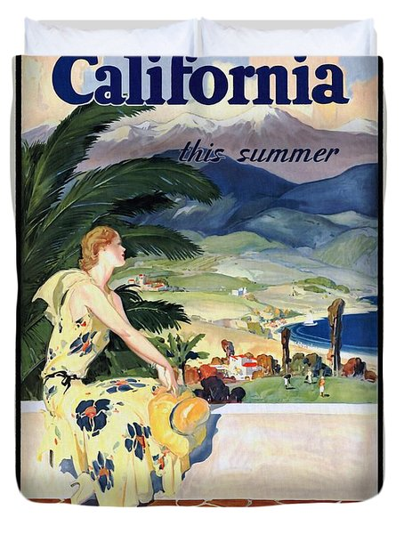 California This Summer - Travel By Train - Vintage Poster Restored Duvet Cover