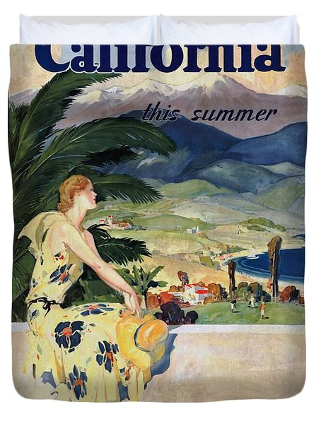 California This Summer - Travel By Train - Vintage Poster Vintagelized Duvet Cover