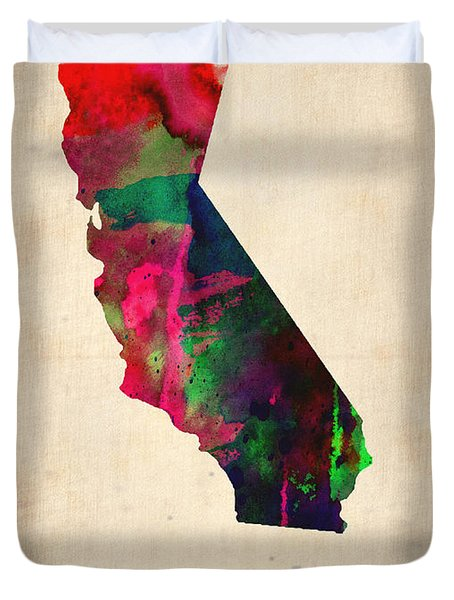California Watercolor Map Duvet Cover