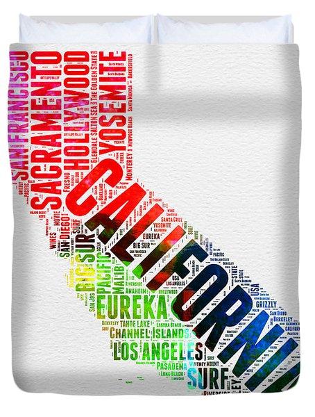 California Watercolor Word Map Duvet Cover