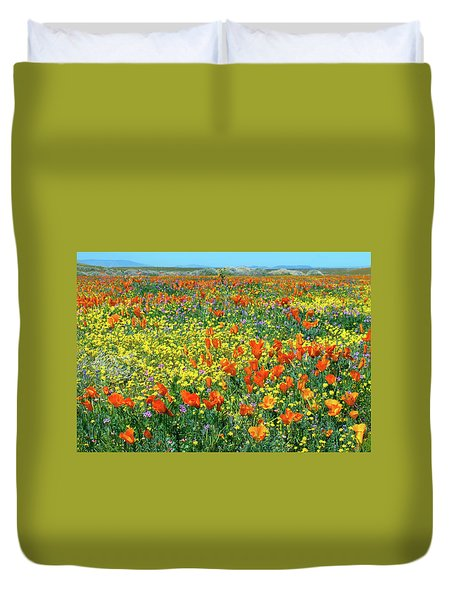 Duvet Cover featuring the photograph California Wildflower Super Bloom by Ram Vasudev