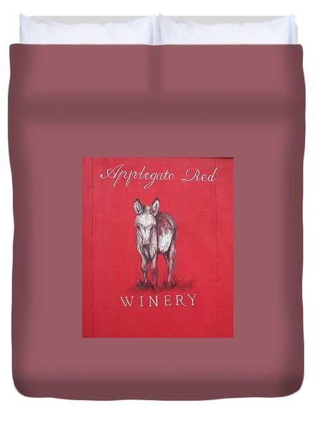 Call Me Applegate Red Duvet Cover by Marie Neder