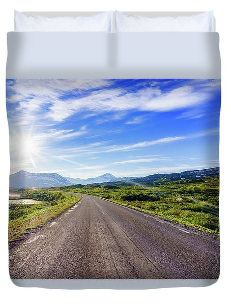 Duvet Cover featuring the photograph Call Of The Road by Dmytro Korol