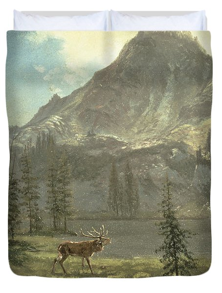 Call Of The Wild Duvet Cover by Albert Bierstadt