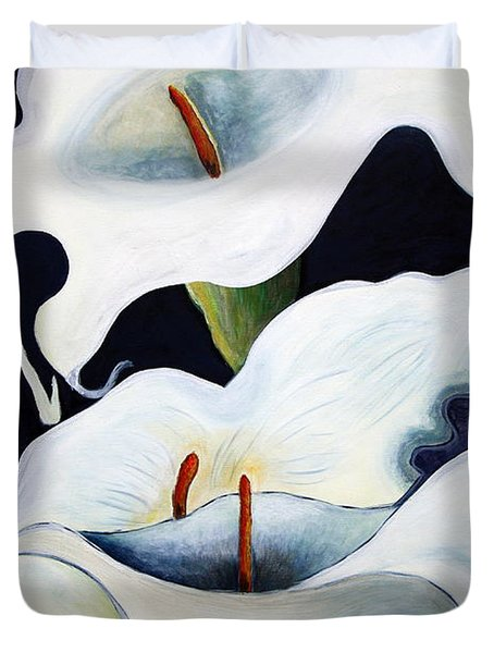Duvet Cover featuring the painting Calla Lilies.. by Jolanta Anna Karolska