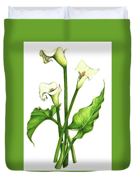 Duvet Cover featuring the painting Calla Lilly by Heidi Kriel