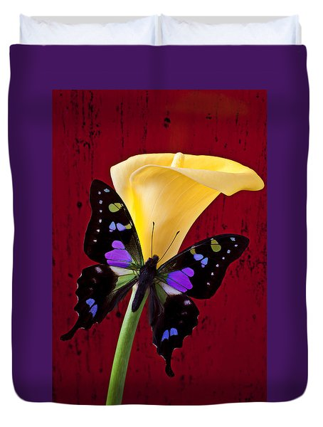 Calla Lily And Purple Black Butterfly Duvet Cover by Garry Gay