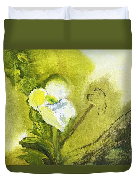 Calla Lily In Acrylic Duvet Cover
