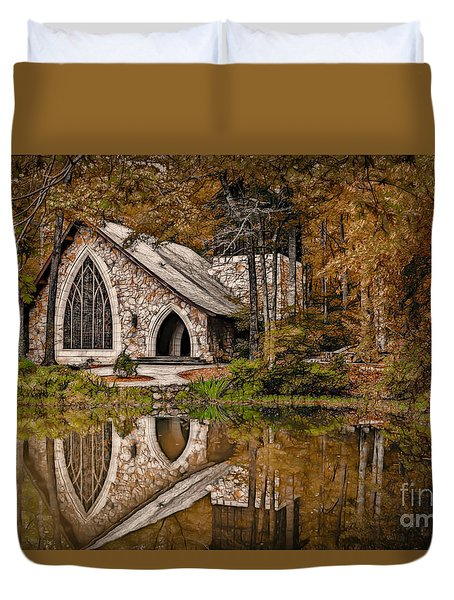 Callaway Chapel In The Fall Duvet Cover