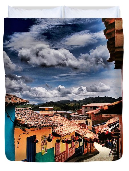 Duvet Cover featuring the photograph Calle De Colores by Skip Hunt